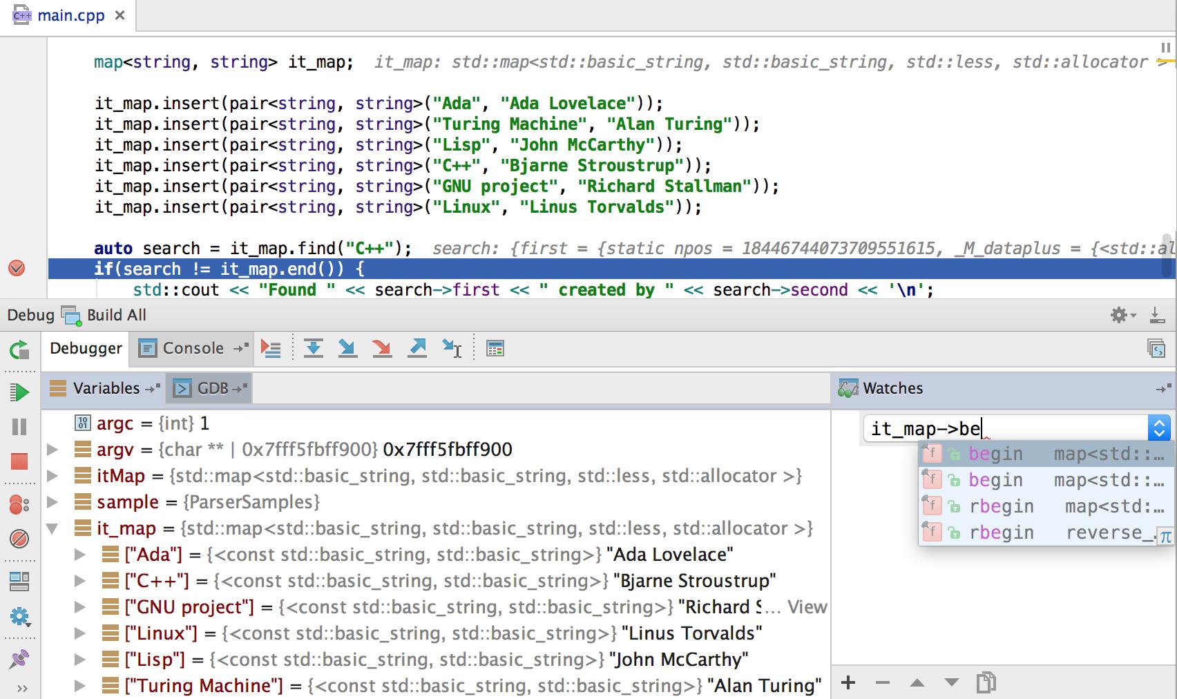 Run Debug Configurations Features Clion