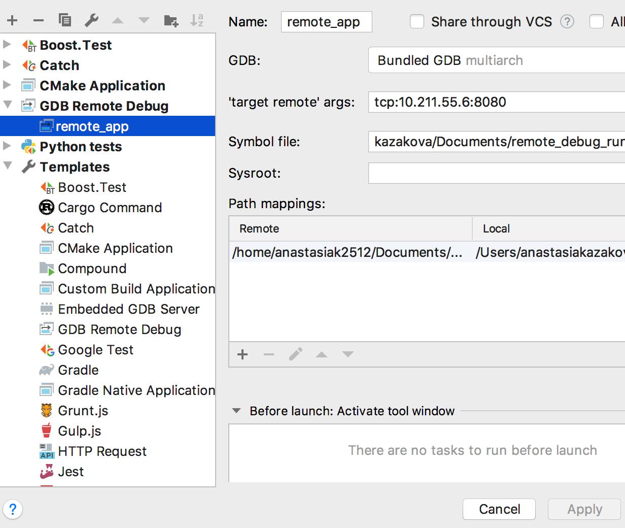 Run & Debug Configurations - Features | CLion