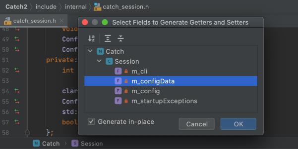 Code generation screenshot