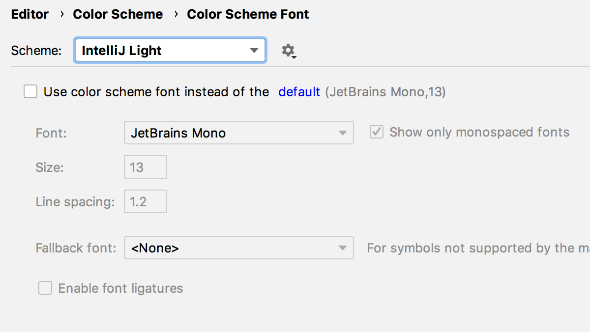 JetBrains Mono and IntelliJ Light