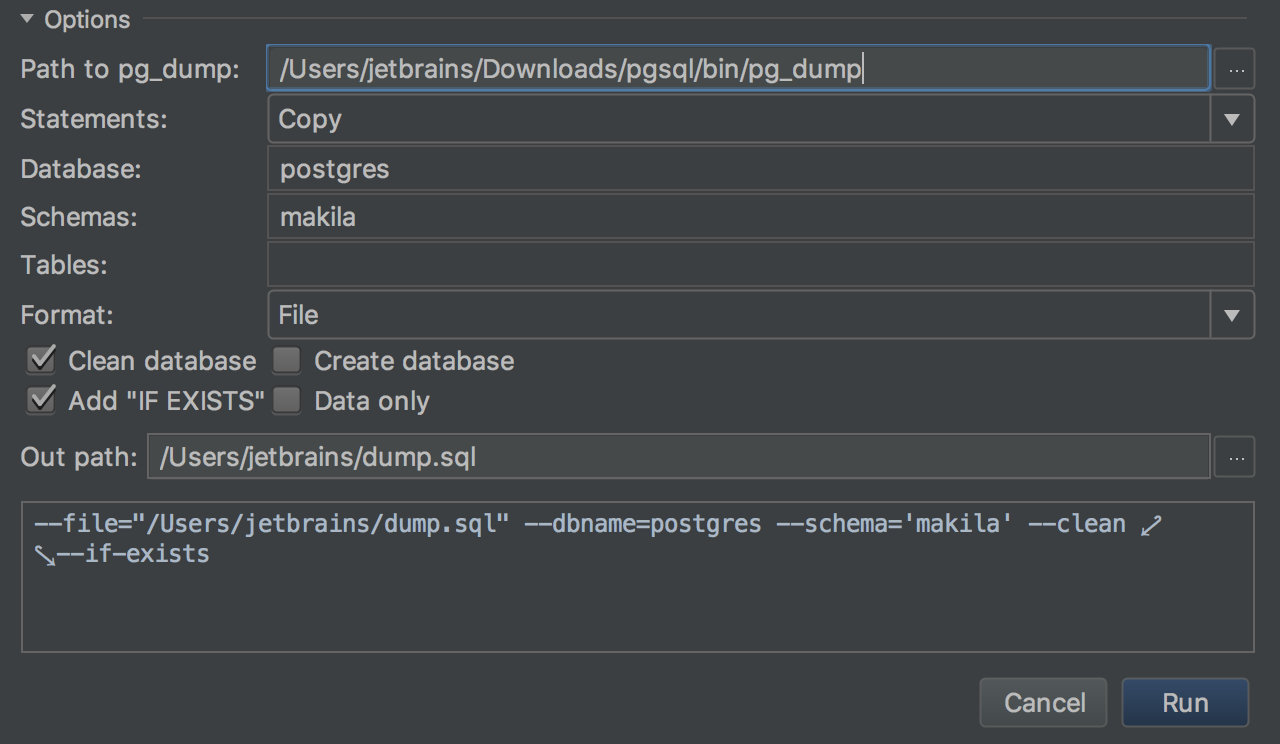 Import/Export options from CSV to database - Features | DataGrip