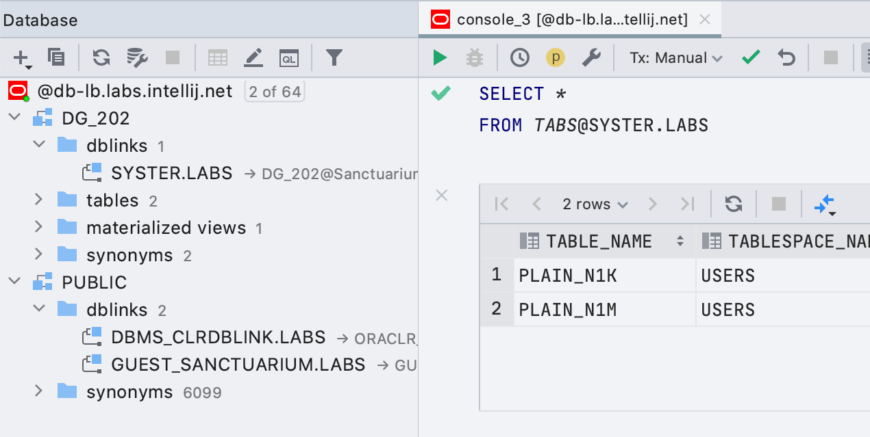 Basic support for Oracle DB links