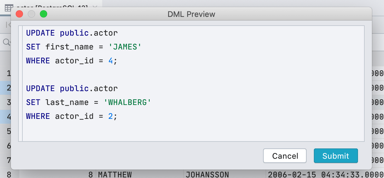 DML preview in the data editor