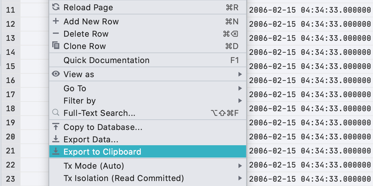 Export to clipboard in the data editor context menu