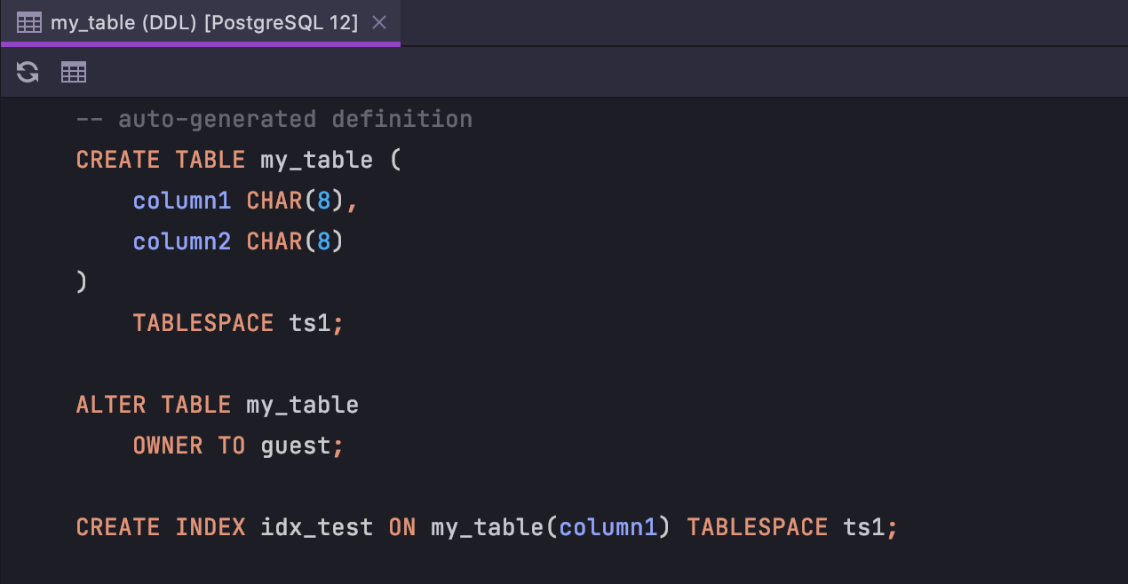 More properties for tables