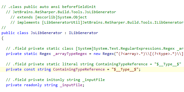 IL code shown as comments to C# code