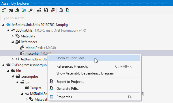 dotPeek helps you browse folders, archives, and NuGet packages