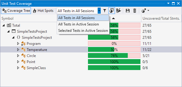 Unit Test Coverage window