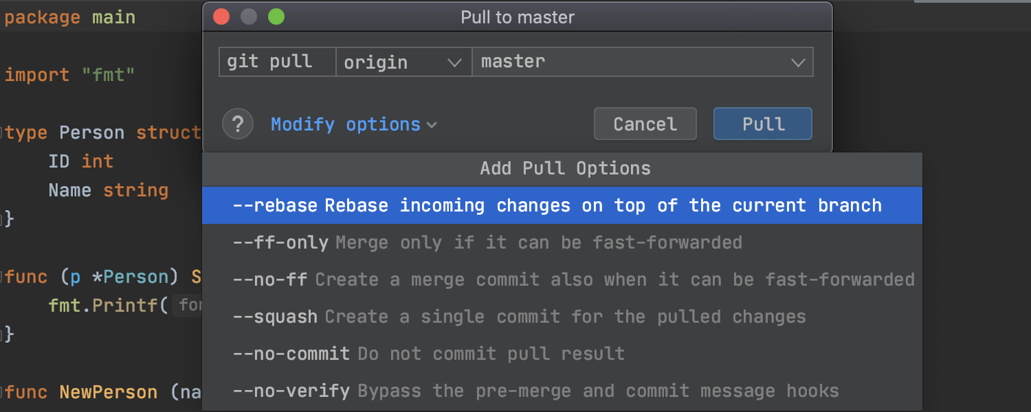 Improved Git action dialogs