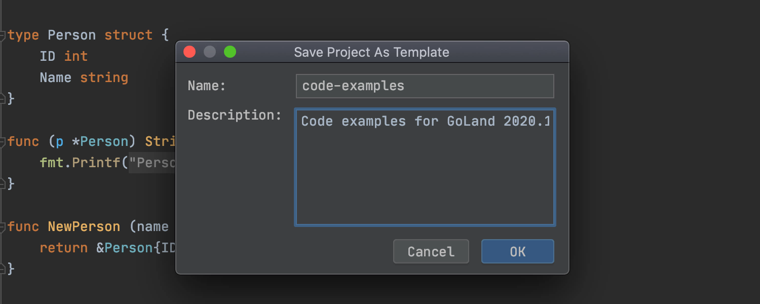 Save Project as Template tool window