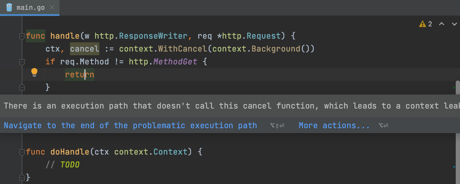 GoLand provides a warning when an execution path doesn't call the cancel function