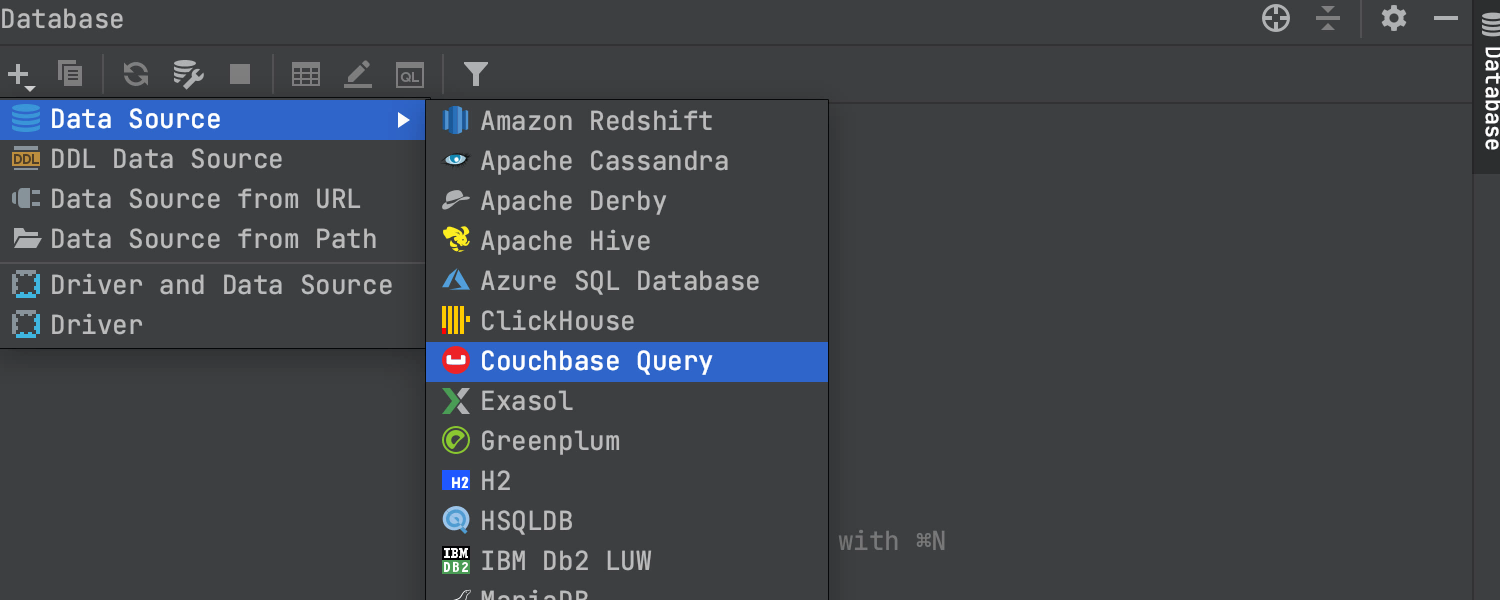 Adding Couchbase Query as data source