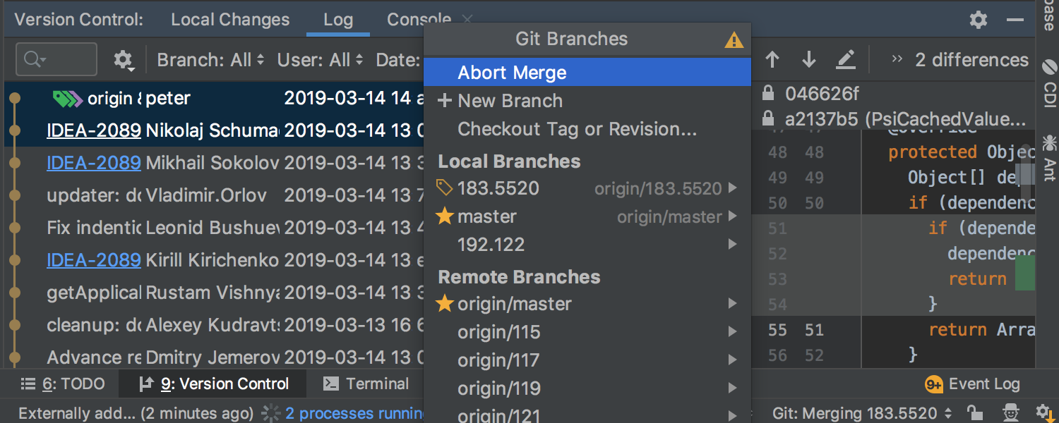 Git Merge and Cherry-Pick can be aborted from the UI