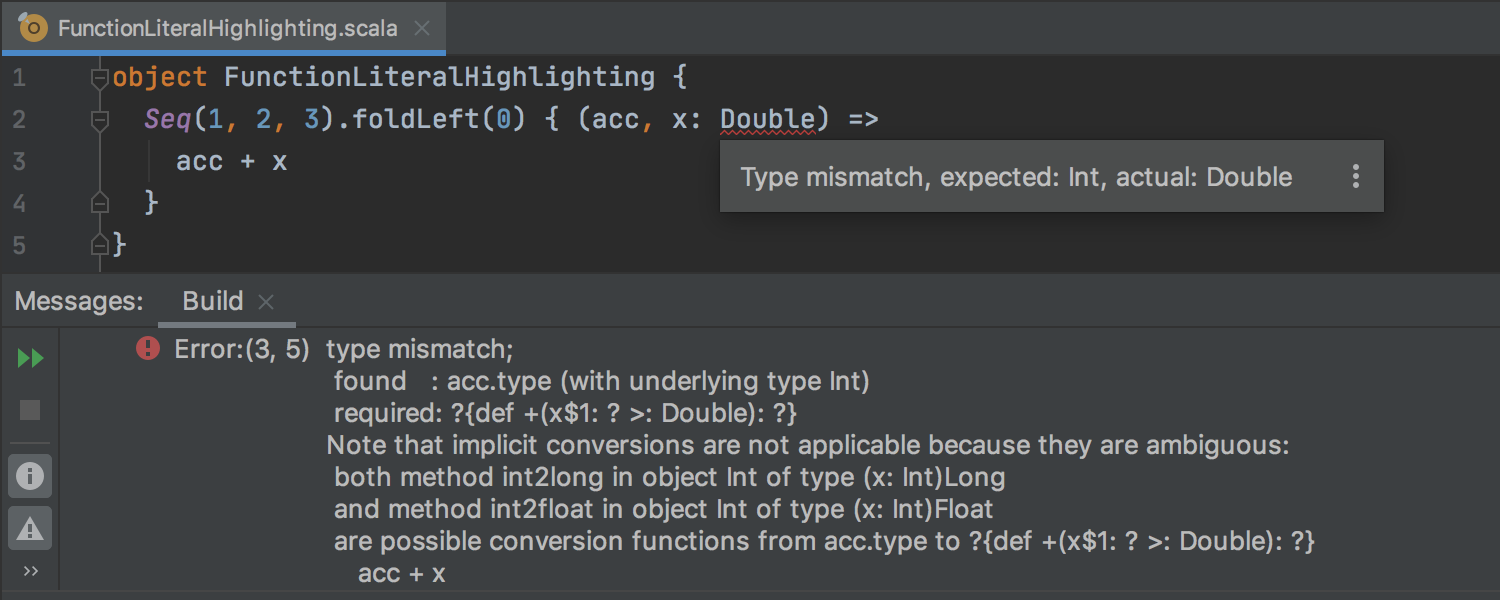 Fine-grained error highlighting for function literals