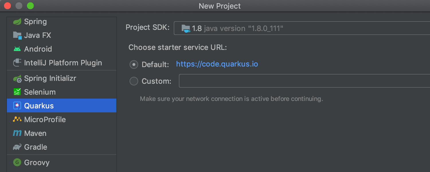 Project Generation for Quarkus and MicroProfile