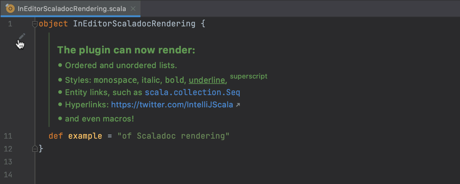 In-editor Scaladoc rendering