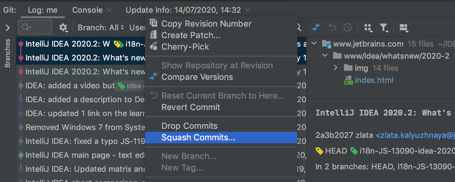 Squash local commits from the log