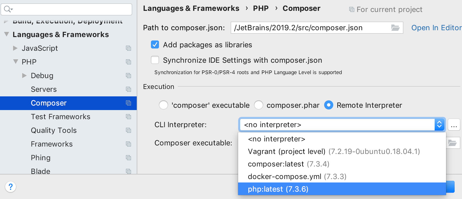 Run Composer via any remote PHP interpreter