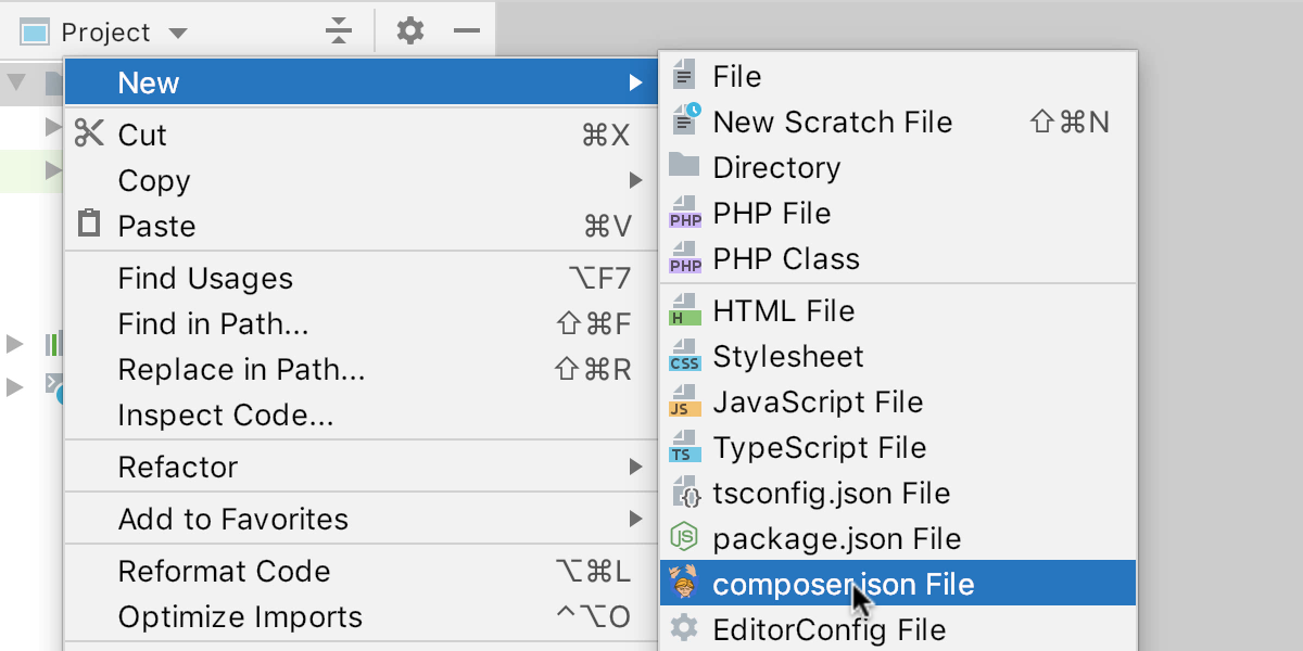 Create new composer.json file