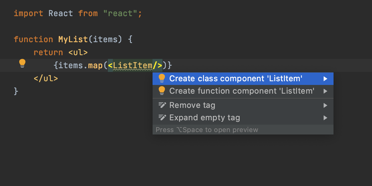 Create a React component from usage