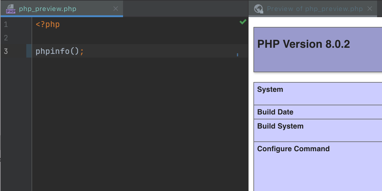 Preview PHP and HTML files in the editor