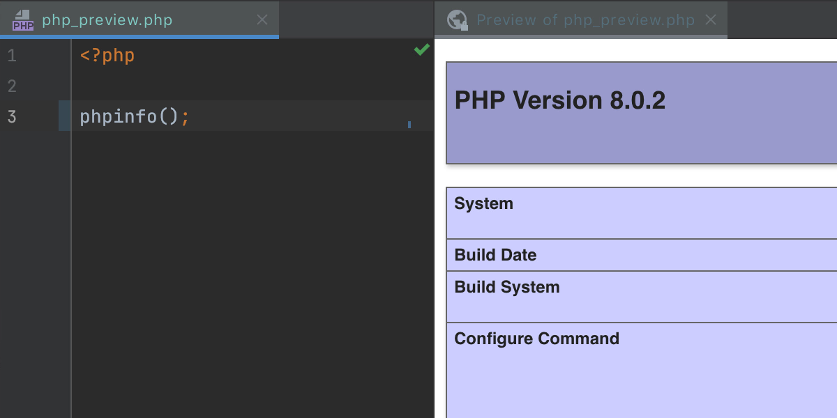 Built-in preview for HTML and PHP files