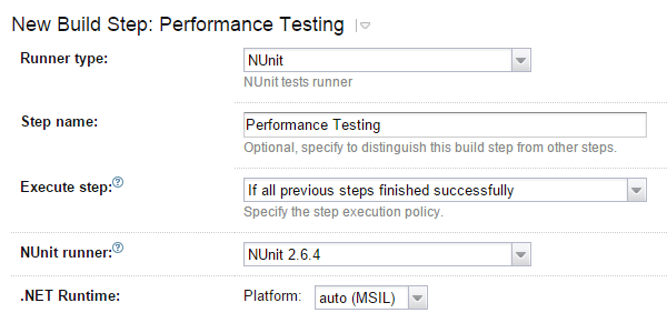 Running unit testing build step under the profiler