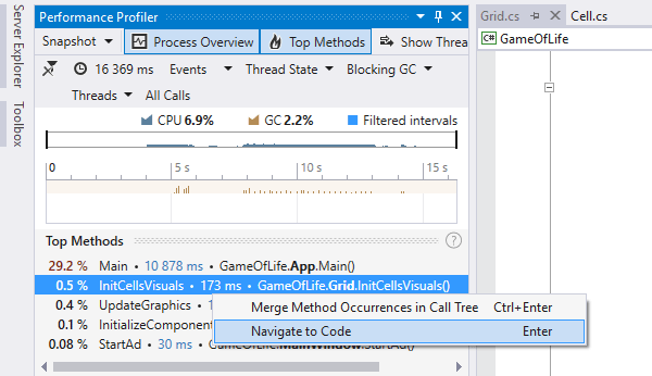 Timeline viewer integrated in Visual Studio. Navigating to method declaration