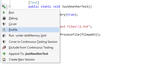 Profiling unit tests