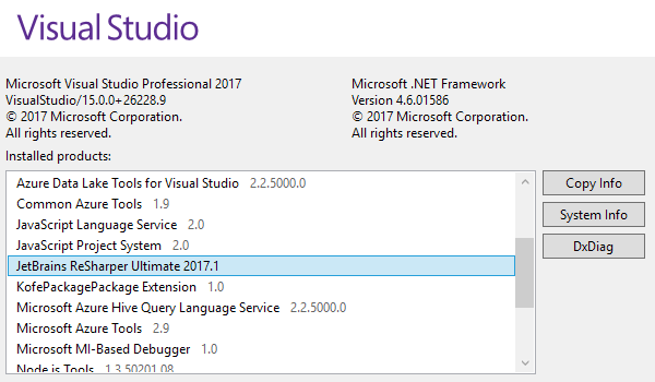 Support for Visual Studio 2017