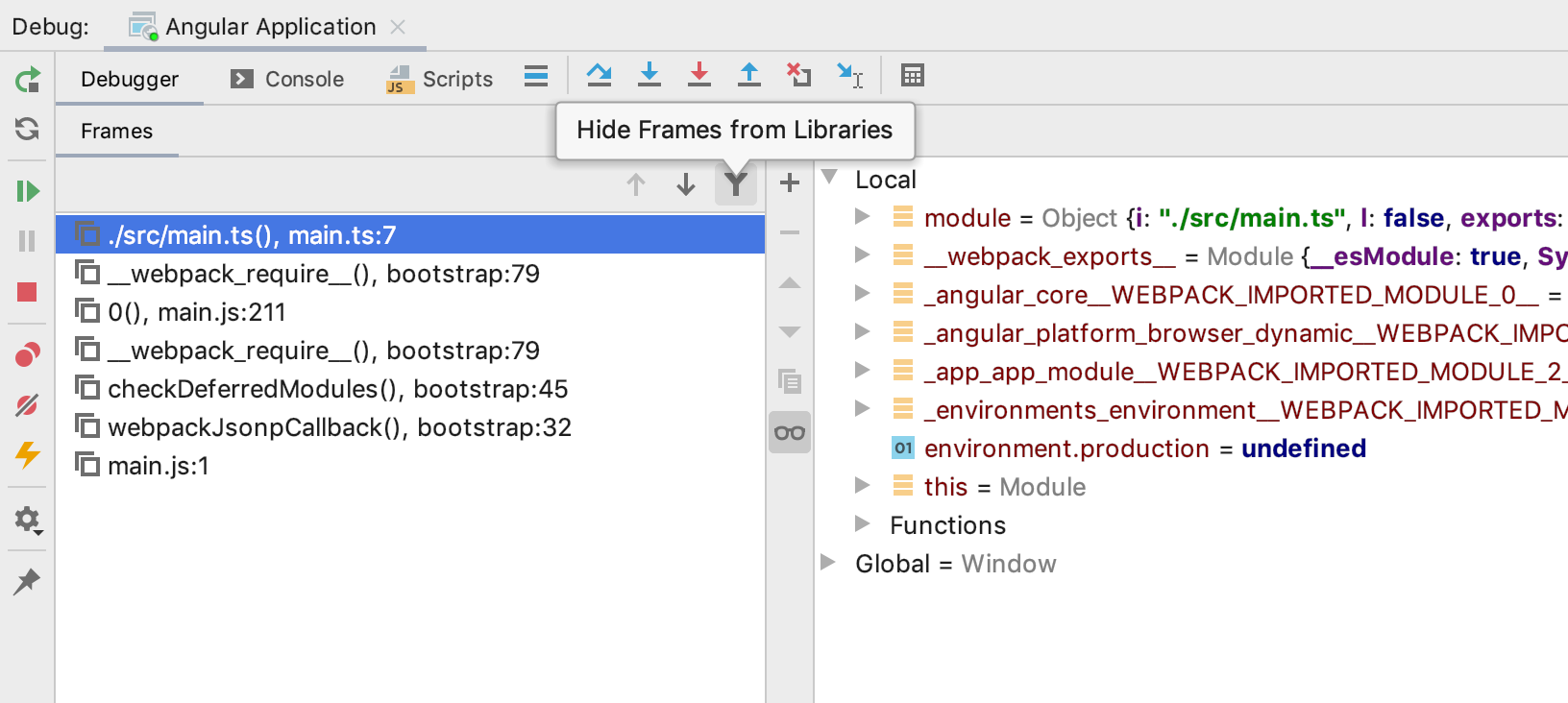 Improved visibility of libraries in the debugger