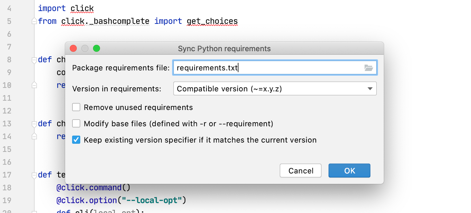 使用 PyCharm 维护 requirements.txt