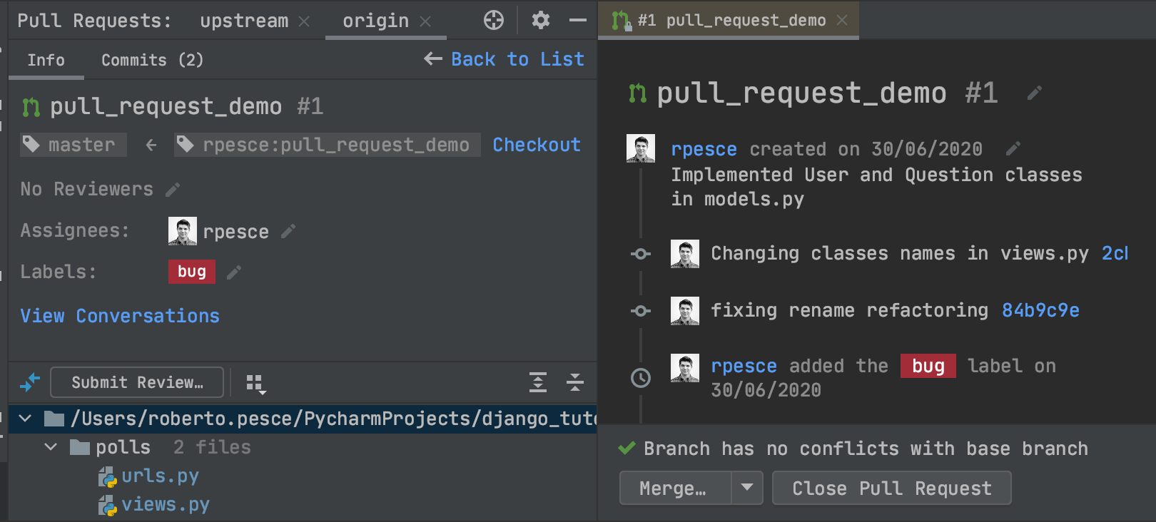 New pull request dedicated view