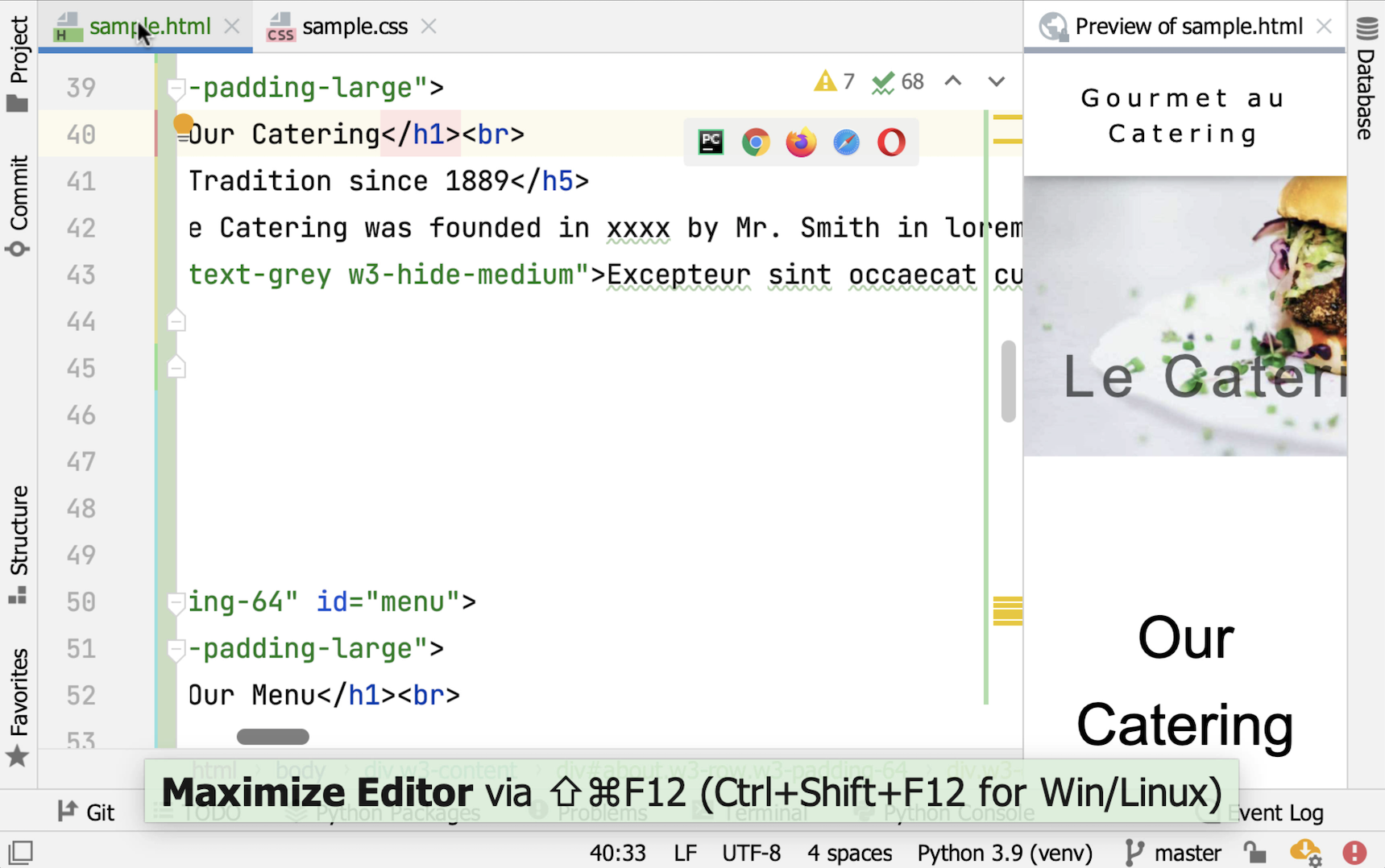 Maximized tab view in split editor mode