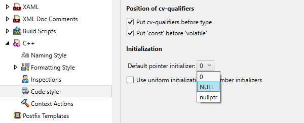 Code style settings for default pointer initializer