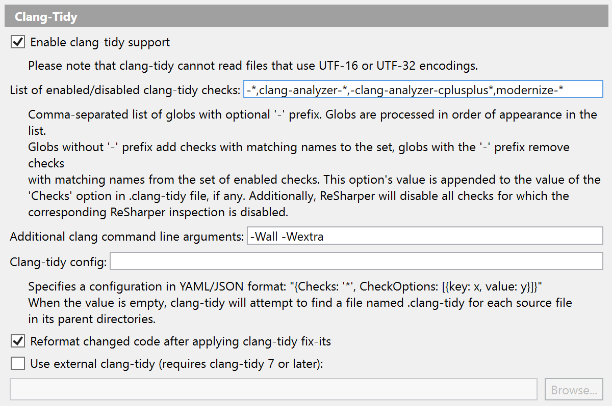 Clang-Tidy settings