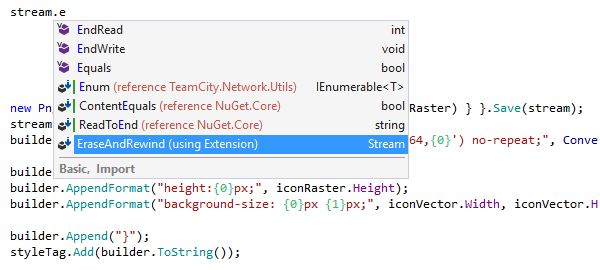 ReSharper code completion can suggest and import code from other namespaces