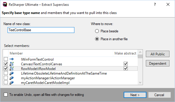 Extract Superclass refactoring in ReSharper