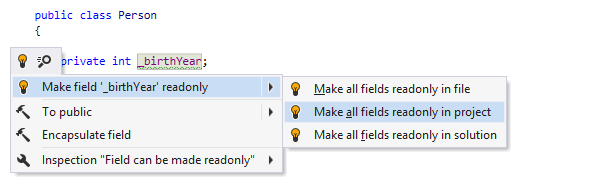 Quick-fix to make field readonly