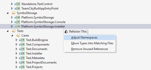 Adjust Namespaces refactoring