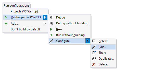 Managing run configurations