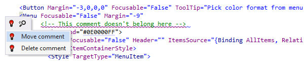 Quick-fixing a misplaced comment in XAML