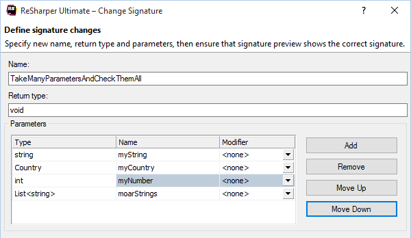 Change Signature refactoring in ReSharper