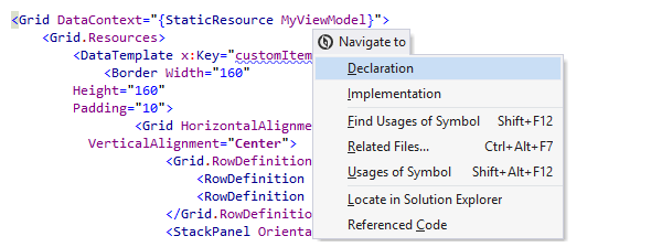 Navigating from a symbol in XAML code