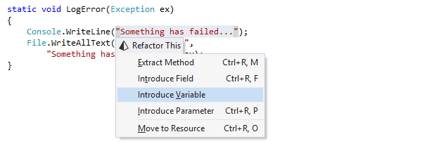 Introducing variable with ReSharper's refactoring