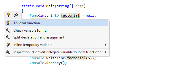 Convert to local function