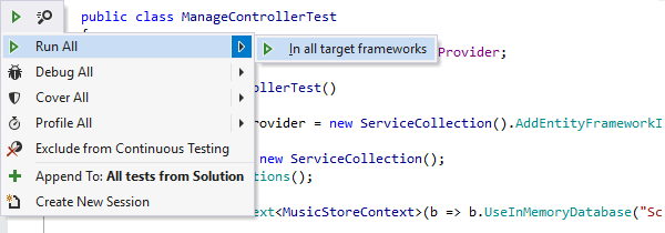 Run unit tests in all target frameworks