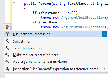 nameof() operator support in ReSharper