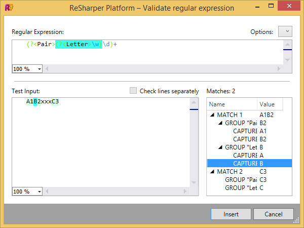 Regular expression validator