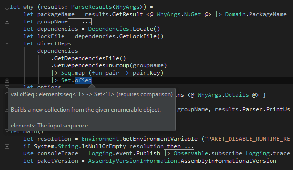 Code folding and documentation tooltips in F#